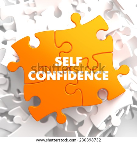 Self Confidence on Yellow Puzzle on White Background. - stock photo
