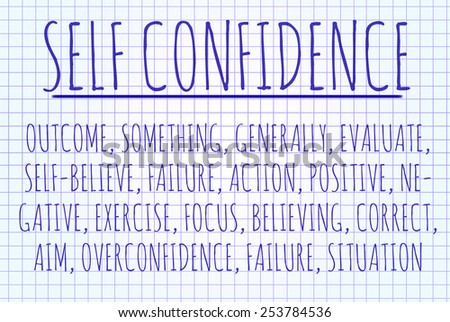 Self confidence word cloud written on a piece of paper - stock photo