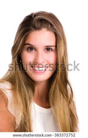 Self confident Hispanic young woman. Image isolated on white with clipping path. - stock photo