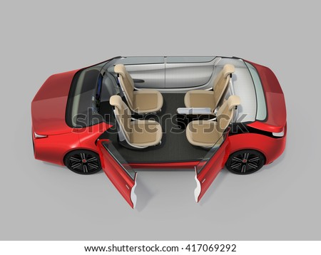 Self-driving car cutaway image. Left doors opened and front seats turned backward in meeting mode. 3D rendering image with clipping path. - stock photo