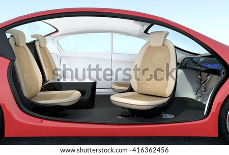 Self-driving car interior concept. The front seats could turned to rear side, help passengers talking face to face.  3D rendering image with clipping path. - stock photo