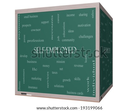 Self-Employed Word Cloud Concept on a 3D Blackboard with great terms such as business, money, owner and more. - stock photo