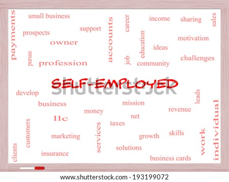 Self-Employed Word Cloud Concept on a Whiteboard with great terms such as business, money, owner and more. - stock photo