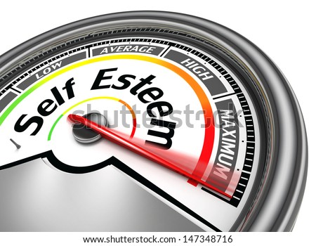 self esteem conceptual meter indicate maximum, isolated on white background - stock photo
