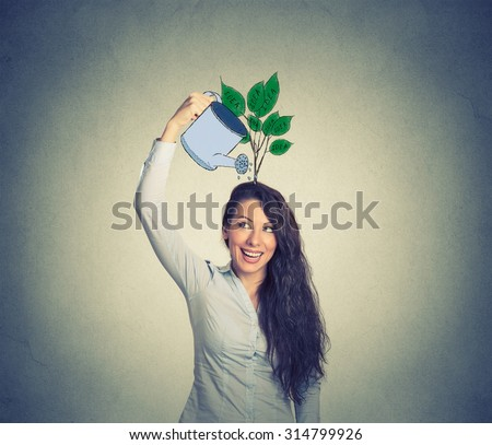 Self investment. Young woman with many ideas  - stock photo
