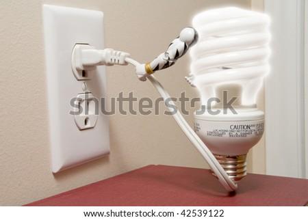 Self Plugged Light Bulb - stock photo