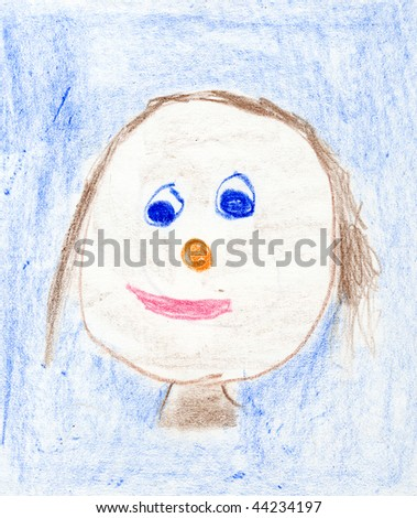 self-portrait of a 5 year old child - stock photo