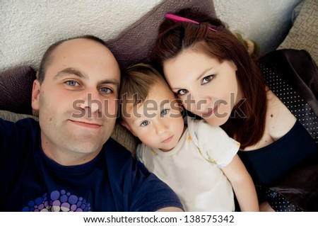 Self portrait photo of real family - stock photo