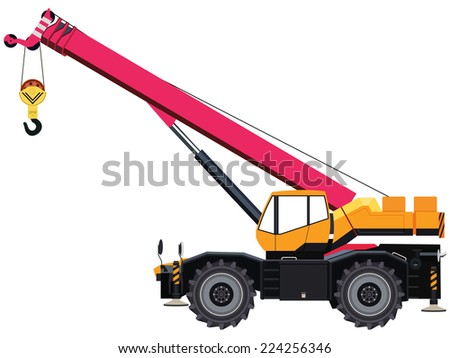 Self-propelled wheeled crane on white background - stock photo