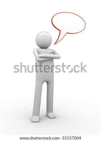self-relied comix-styled speaking man with a copyspaced balloon to white a text - stock photo