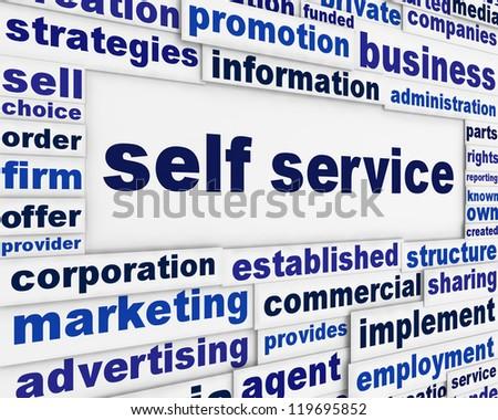 Self service slogan message background. Modern customer service poster design - stock photo