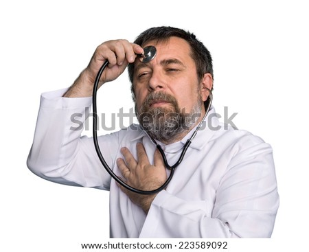 Self-treatment. Humorous concept of health. Mad doctor with a stethoscope isolated on white - stock photo