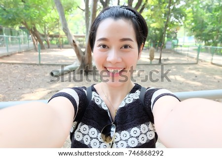 selfie Asian woman, self portrait
