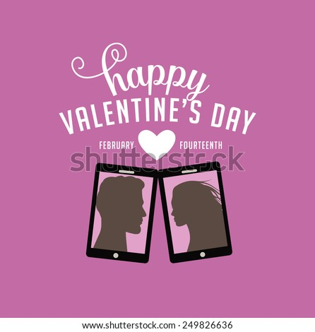 Selfie Happy Valentines Day Design royalty free stock illustration for greeting card, blog, poster, flyer, email, advertising, marketing, invitation - stock photo