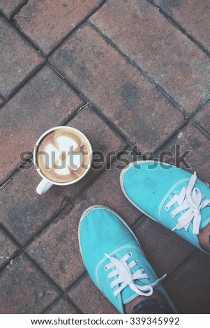 Selfie of coffee with shoes