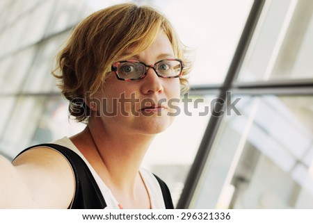 selfie portrait of beautiful 35 years old woman - stock photo