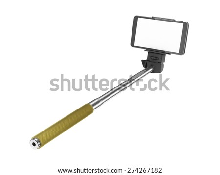 selfie stick mono pod with mobile phone