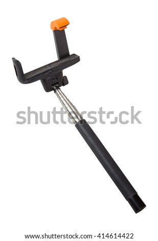 selfie stick with an adjustable clamp on a white background