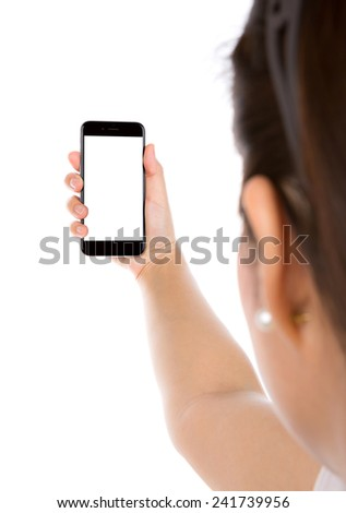 Selfie with mobile smart phone  Isolated on white background - stock photo