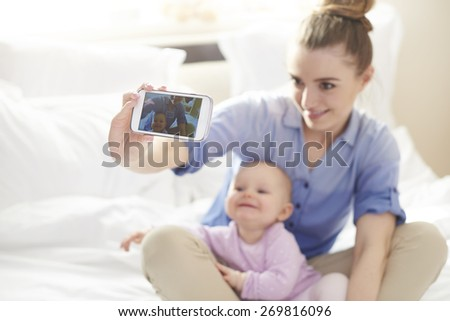 Selfie with my little princess - stock photo