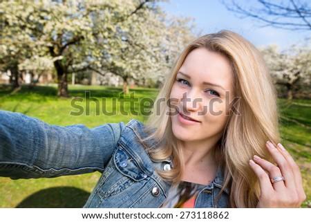 Selfie, Woman, Springtime - stock photo