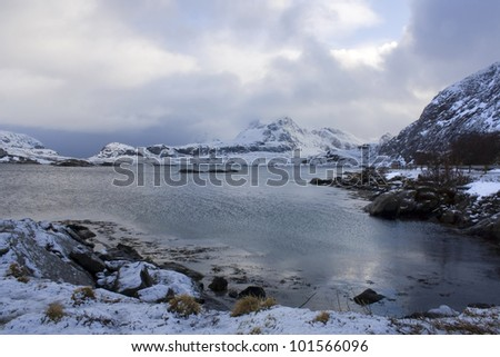 Selfjord in the Lofoten Islands, Norway. - stock photo