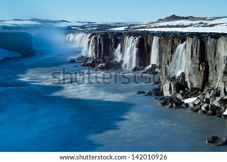 Selfoss waterfall in Vatnajokull National Park, Northeast Iceland - stock photo
