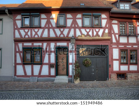 Seligenstadt in Hessen, a typical small German town not far from the city of Frankfurt. - stock photo