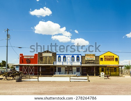 SELIGMAN, USA - JUL 8, 2008: The Historic Seligman depot on historic Route 66 in Seligman, AZ, USA. Built in 1904, today, Seligmans depot is the best original western facade all over Route 66. - stock photo