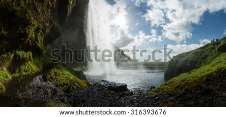 Seljalandsfoss, Iceland. Panoramic view (behind the waterfall).