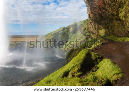 Seljalandsfoss waterfall on summer in Iceland - stock photo