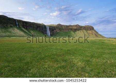 Seljalandsfoss waterfall. Summer landscape with cascade and green meadowr. Famous tourist attraction of Iceland
