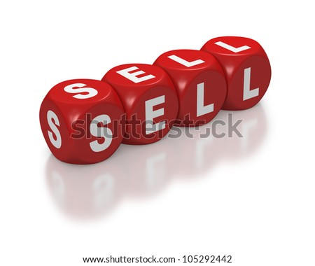 Sell as text or concept on red dice or blocks on white background