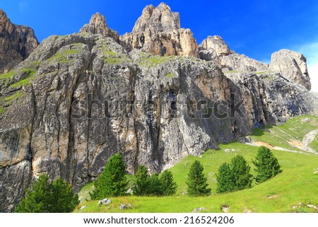 Sella massif seen from Lasties Valley, Dolomite Alps, Italy