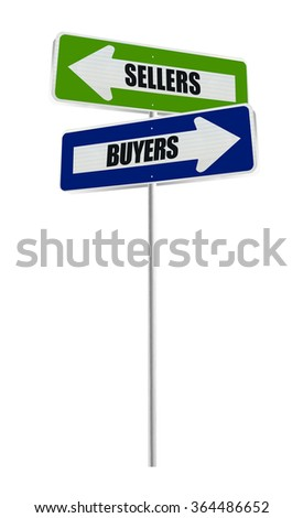 Sellers Buyers One Way Arrow Street Sign isolated on white background