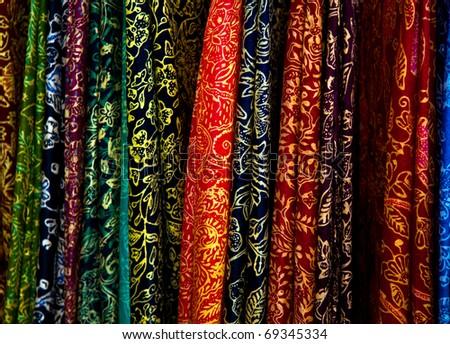 Selling colorful batik sarong - stock photo