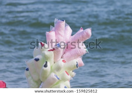 Selling cotton candy colored beach - popular - Rio de Janeiro - Isolated object - stock photo