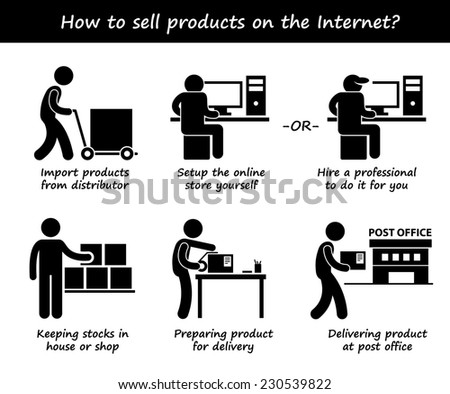 Selling Product Online Internet Process Step by Step Stick Figure Pictogram Icons - stock photo