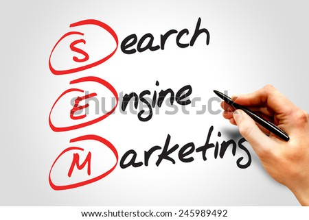 SEM Search Engine Marketing, business concept acronym - stock photo
