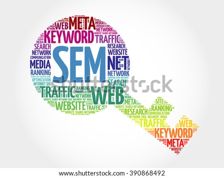 SEM - Search Engine Marketing Key word cloud, business concept - stock photo