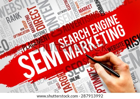 SEM (Search Engine Marketing) word cloud business concept - stock photo