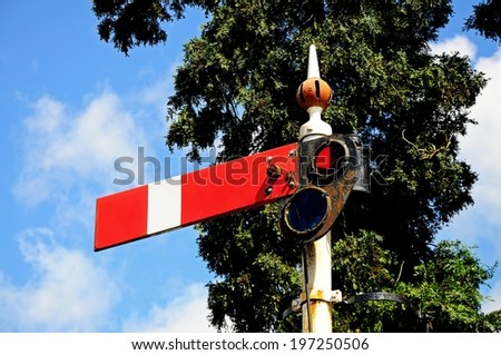 Semaphore signal showing the lower quadrant home danger at the railway station, Hampton Loade, Shropshire, England, UK, Western Europe.