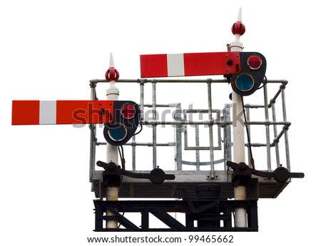 semaphore train signal - stock photo