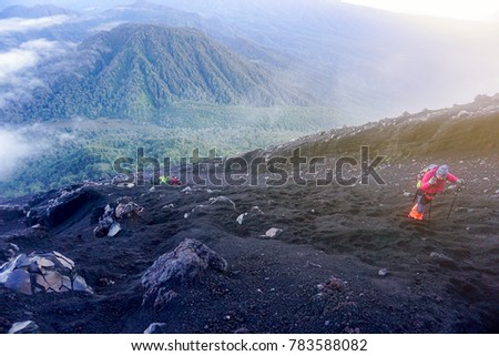 semeru mount hikers during sunrise