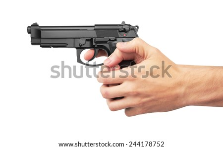 Semi-automatic gun in hand, isolated on white background - stock photo