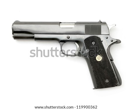 Semi-automatic gun isolated on white