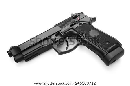 Semi-automatic gun isolated on white background - stock photo