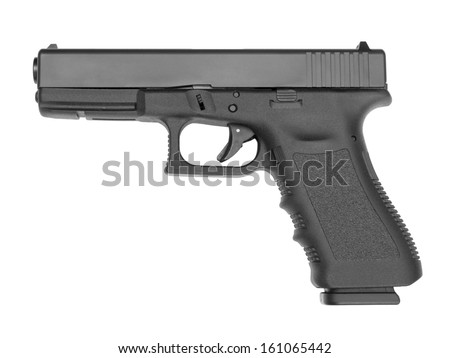 Semi-automatic handgun on white background.  - stock photo