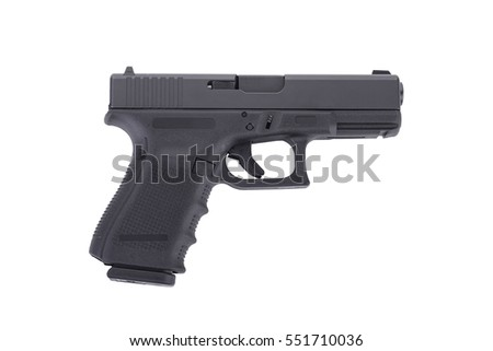 semi automatic 9 m.m handgun pistol isolated on white background