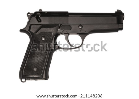 Semi-automatic pistol isolated on a white background - stock photo